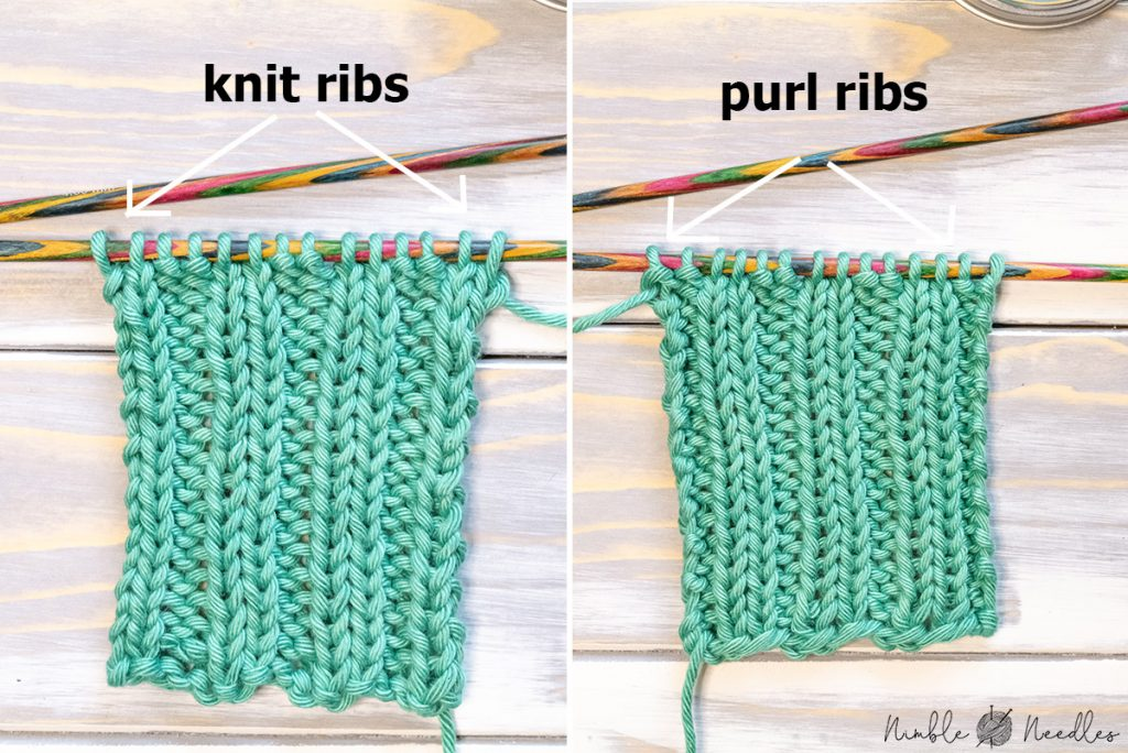comparing the two sides of a ribbing swatch with different positions of the ribs