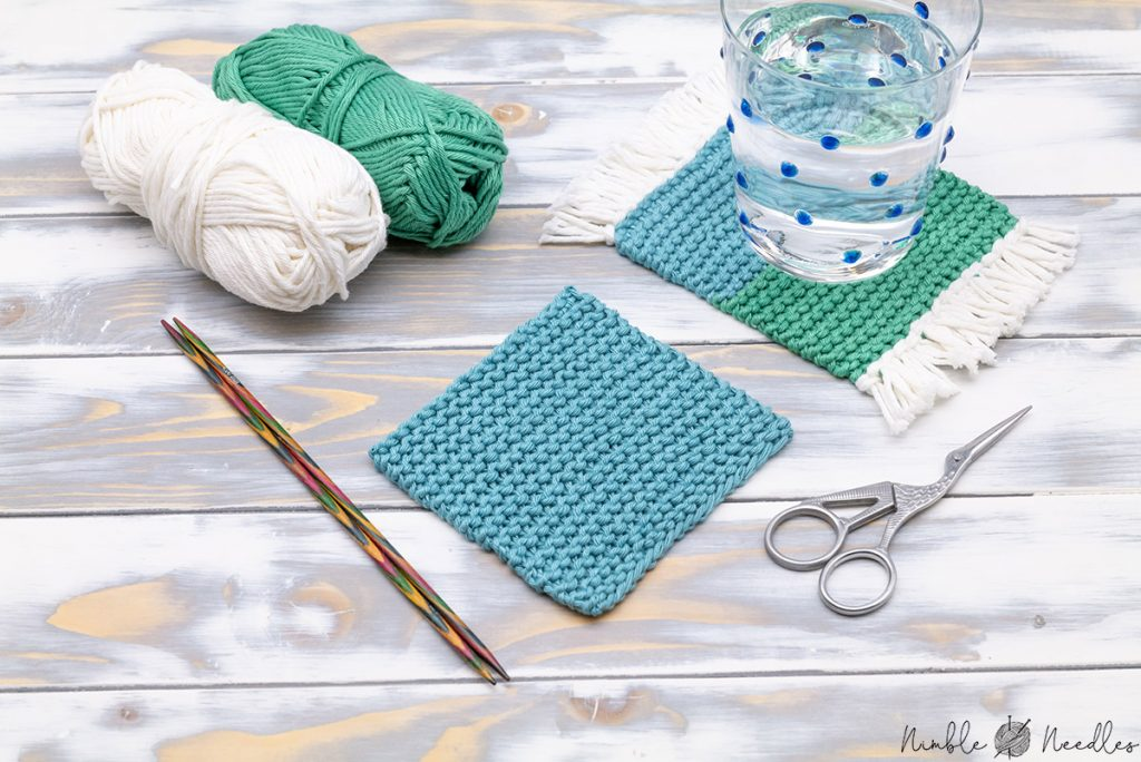 different knitted coaster one with and one without fringes