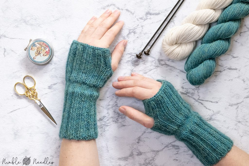 the knitted fingerless gloves from a different angle