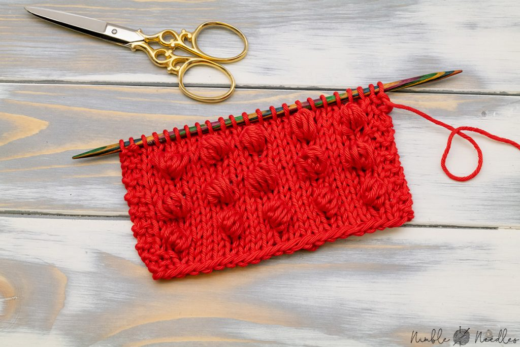 knitting swatch with different estonian nupp stitches which can be a nice alternative for the classic bobble stitch