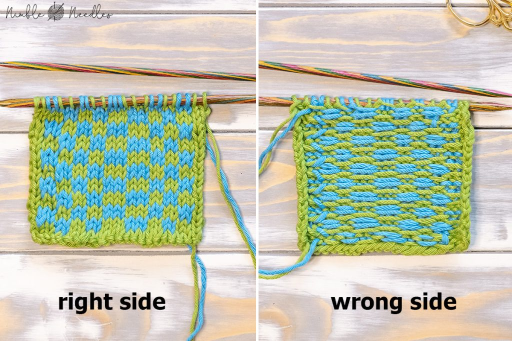front and back of a fair isle project in progress showing big floats on the backside
