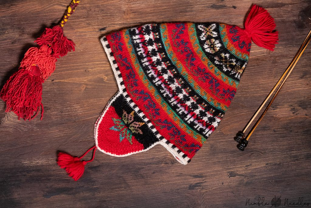 a traditional peruvian hat knitted with alpaca yarn in different colors