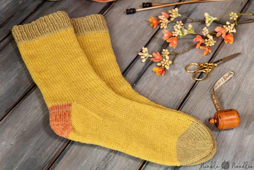 close-up of the finished plastic free socks