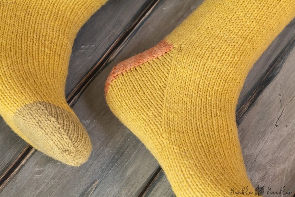 detail of the heels of my socks