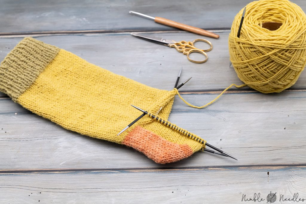 knitting socks with plastic free yarn about halfway through after turning the heel