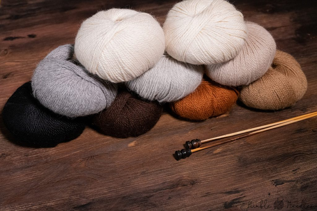 different natural colors of alpaca yarn - undyed skeins