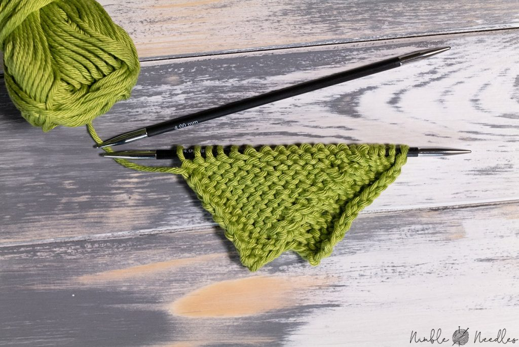 a swatch decreased with pfbf - purl front, back, and front again
