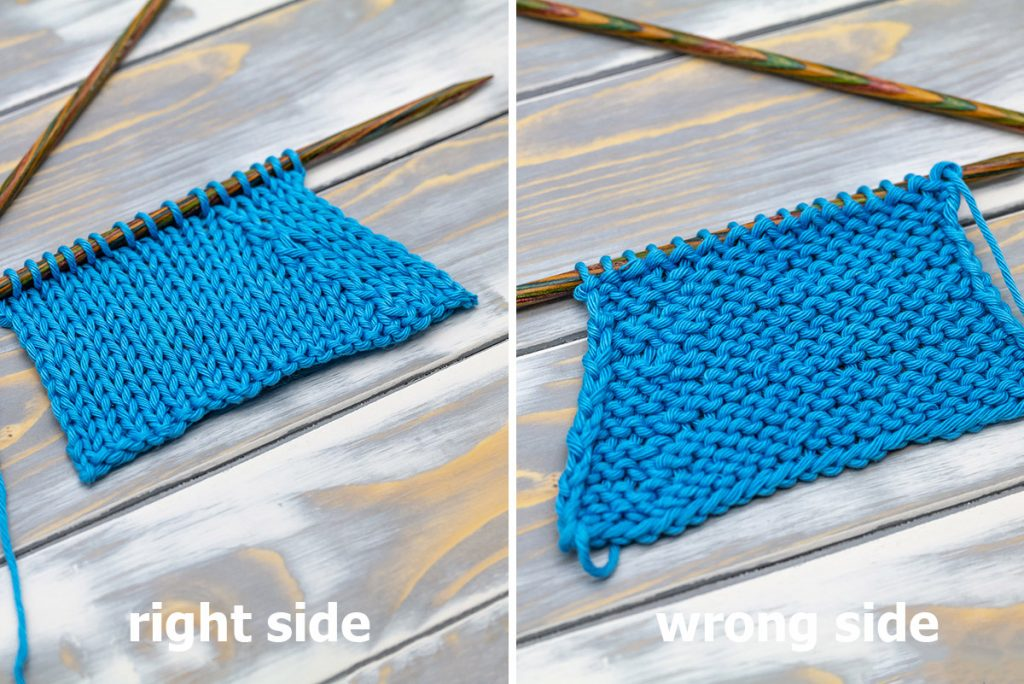 a knitted swatch showing the p2tog tbl purl decrease on the right and wrong side