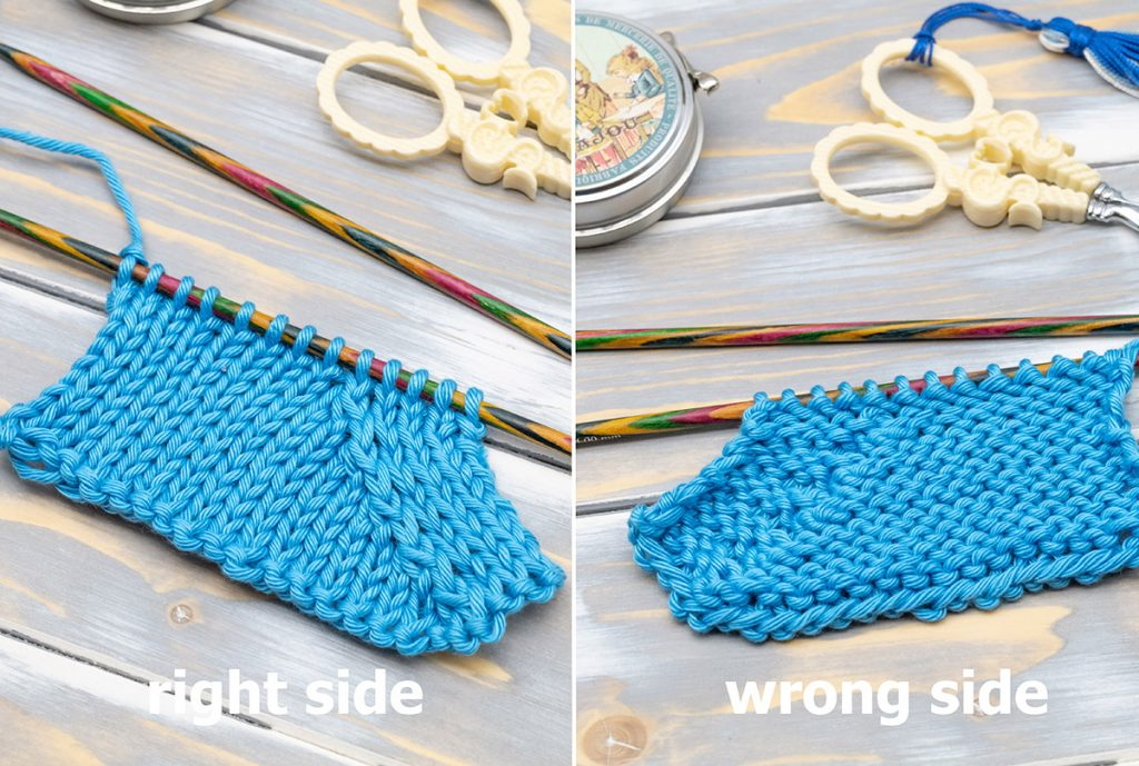 a swatch with the p3tog tbl - the right-leaning double purl decrease