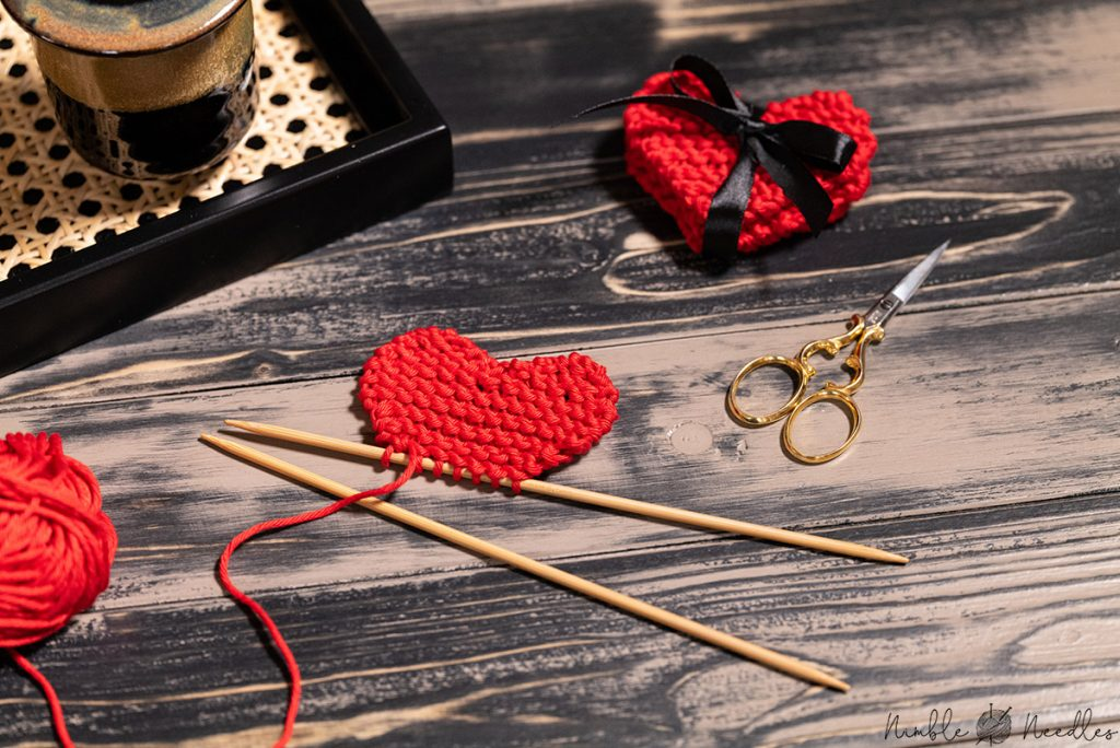 showing you how to knit a heart shape on single-pointed needles