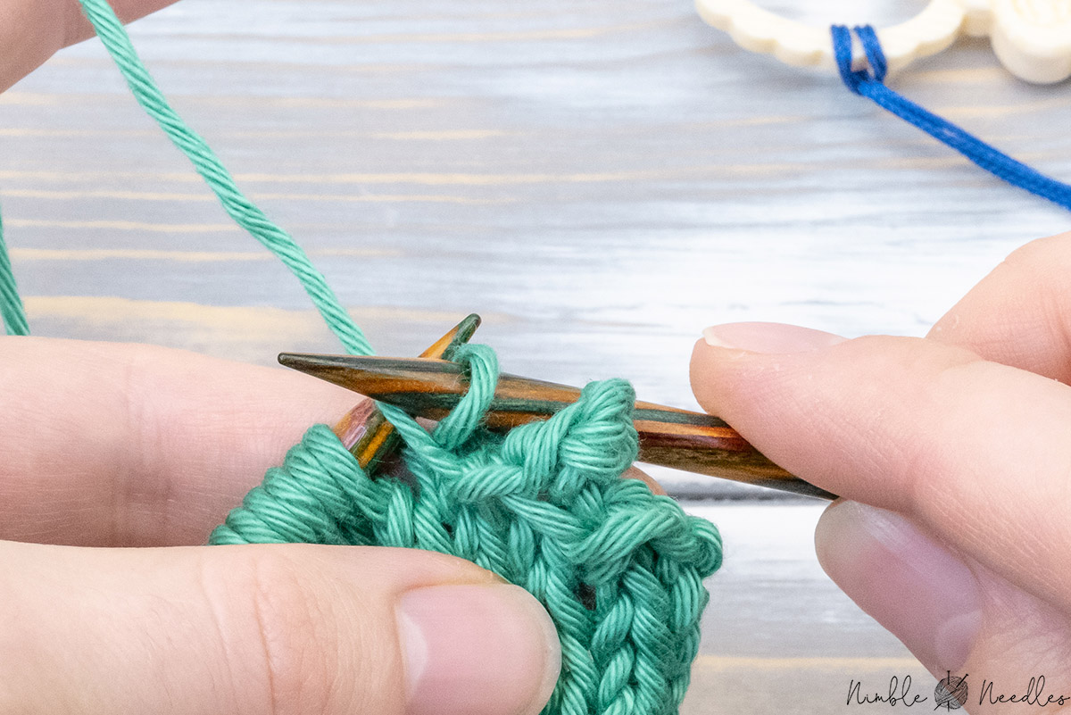 finishing the picot edge by binding off 4 stitches