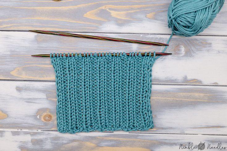 2x2 rib knitting stitch swatch