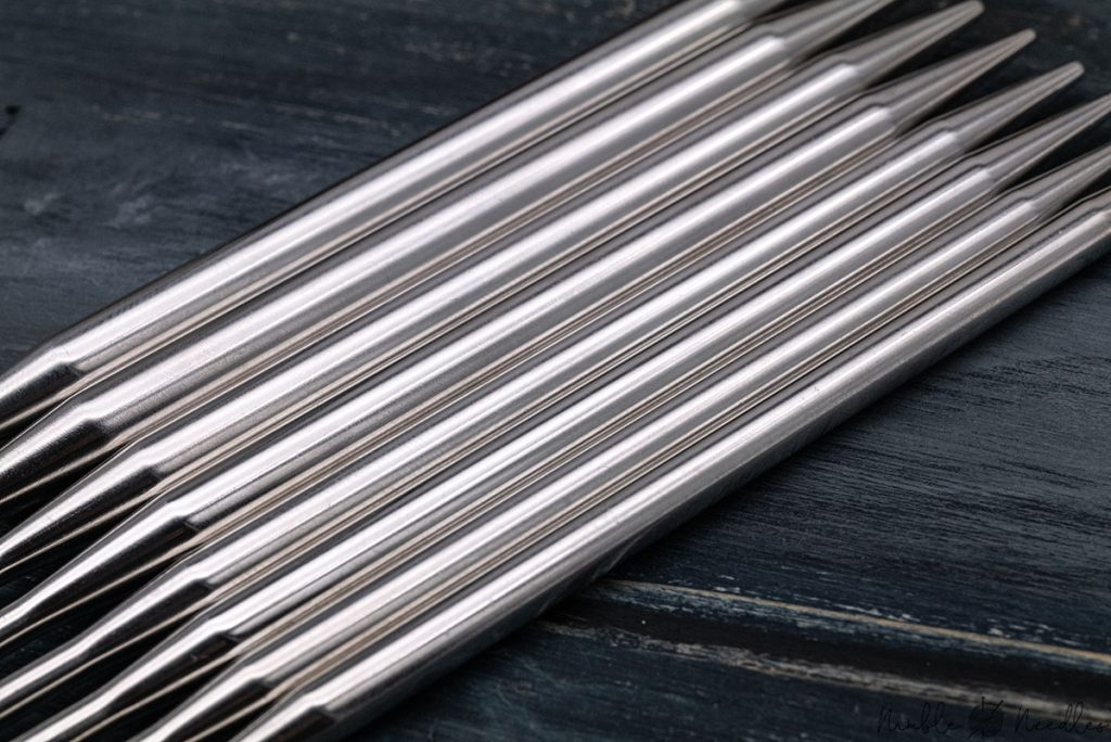close-up of the coated material of the addi interchangeable knitting needle tips