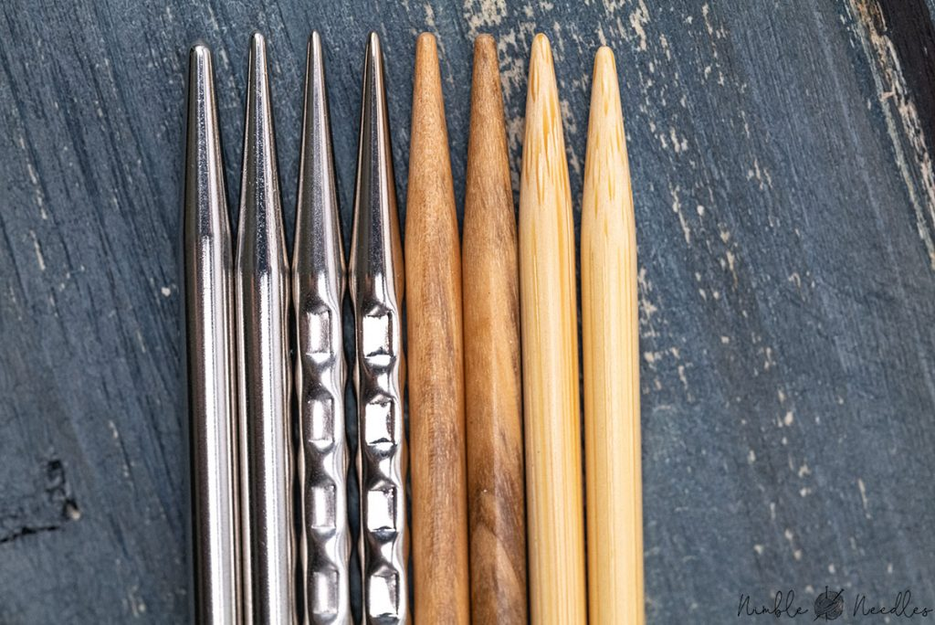 close-up of the different addi interchangeable knitting needle tips