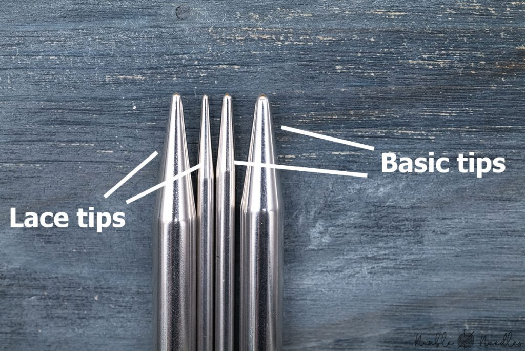 comparing the addi lace tips with the basic tips to show the difference in sharpness