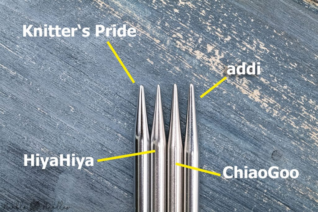 comparing the sharpness of the tips of the addi needles with 3 other different brands