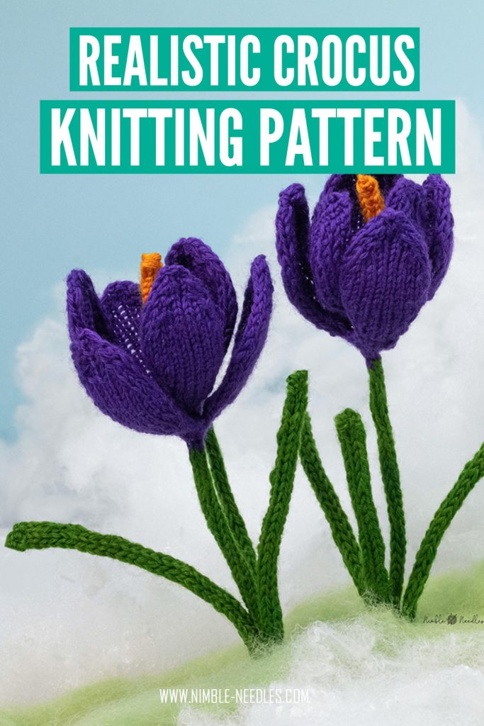 a very realistic crocus knitting pattern with step by step written instructions