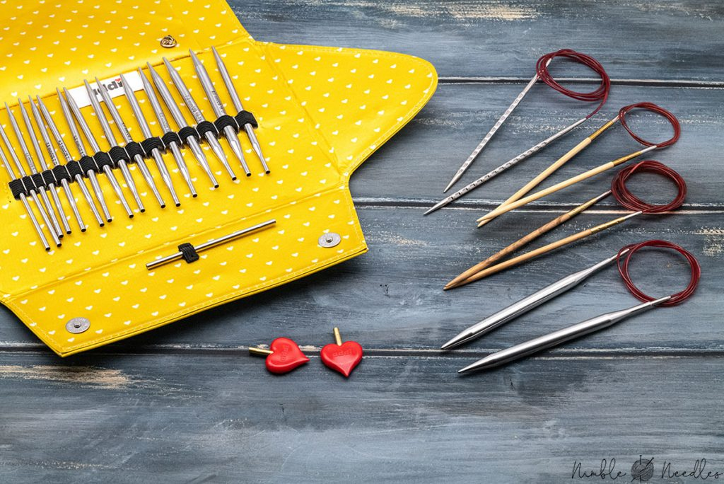 different kind of addi interchangeable knitting needle sets - metal wood, novel, etc