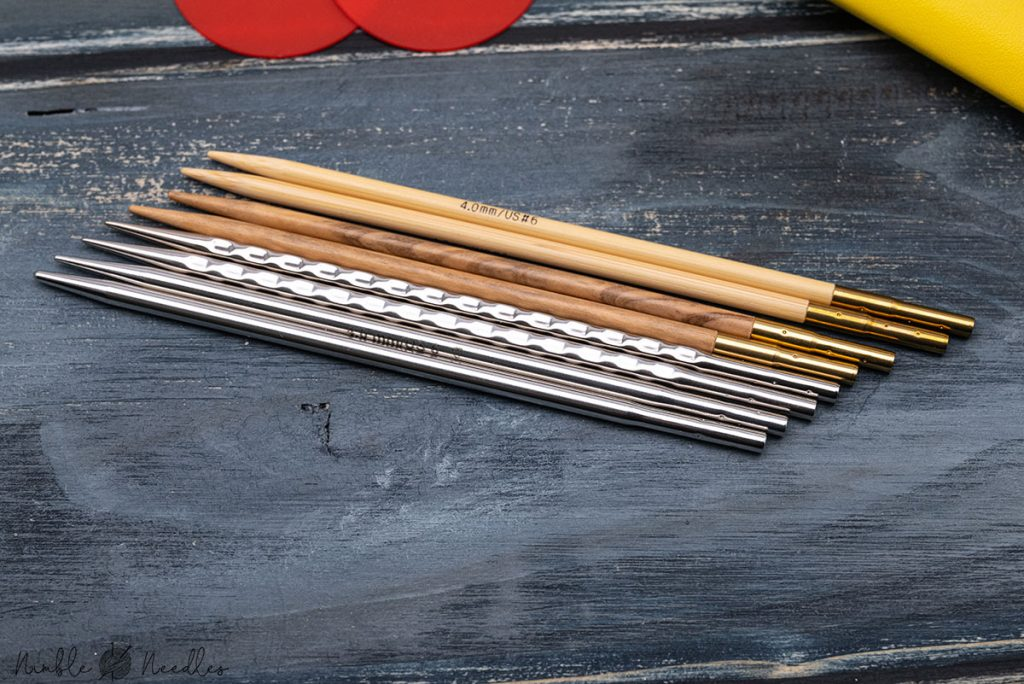 different kind of tips for the addi interchangeable knitting needles next to each other - wood, metal and ergonomics