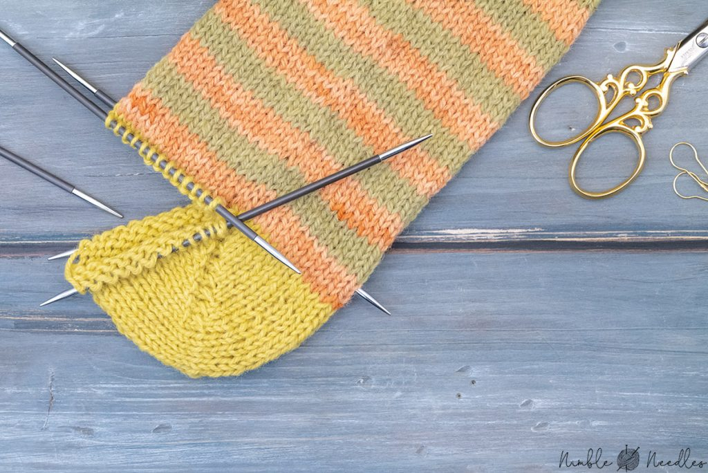 the finished german short row heel
