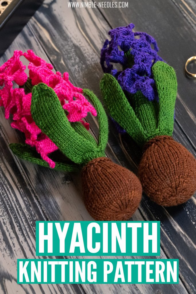a realistic hyacinth knitting pattern with step by step written instructions