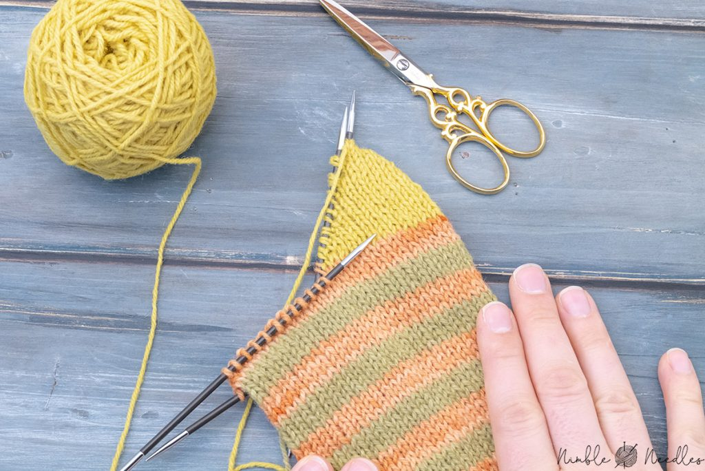 the first part of the german short row heel finished