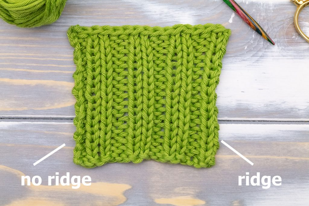 a swatch showing the problem with the edge of a standard 2x2 rib stitch