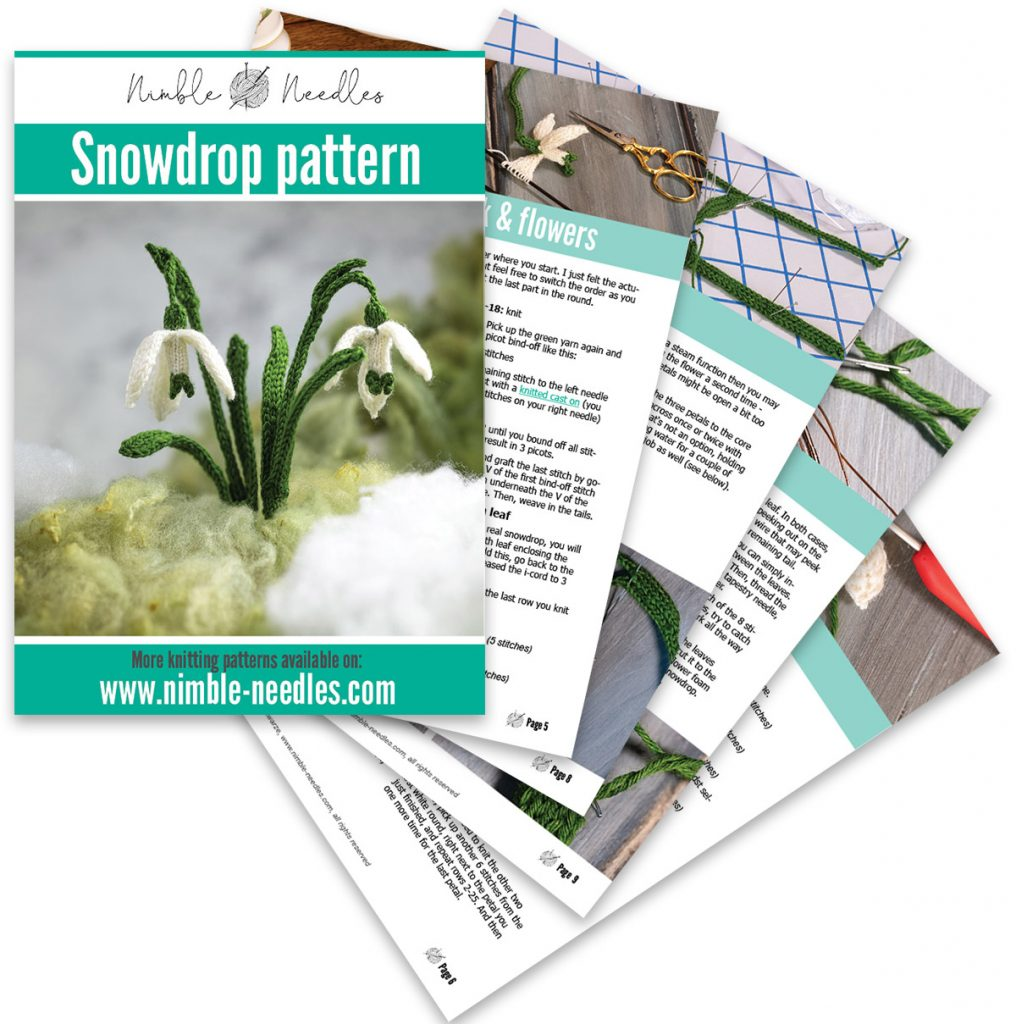 a  preview of the pages of the snowdrop knitting pattern