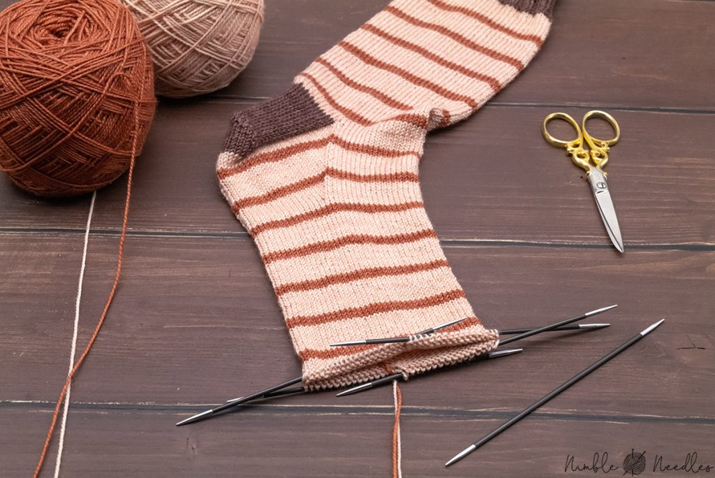working on the foot of a sock