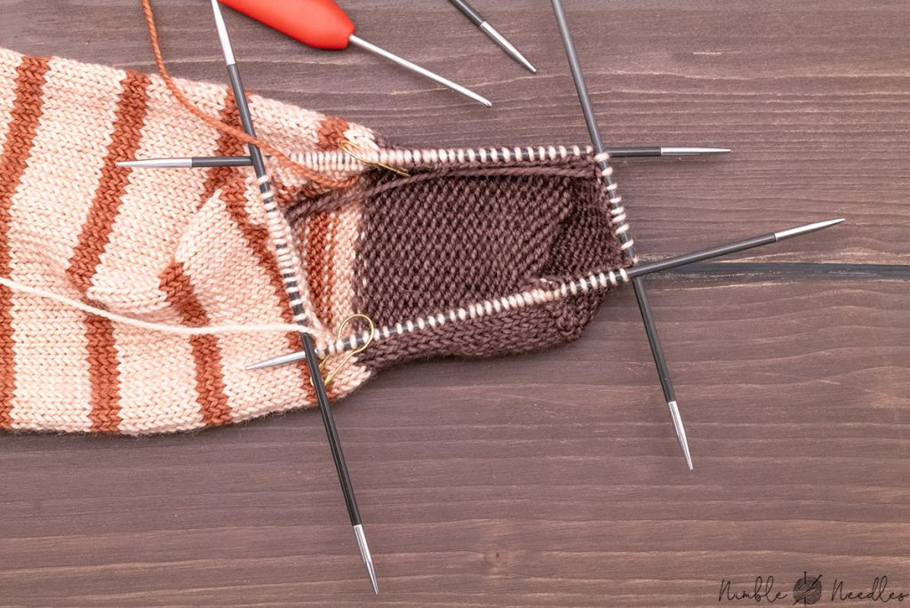 all stitches were picked up from the gusset and distributed evenly