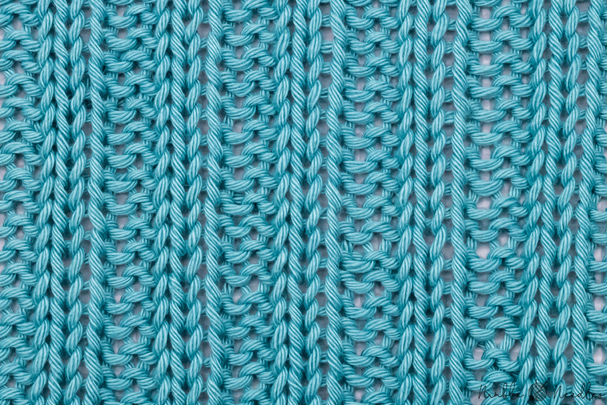 the 2x2 rib stitch knitting pattern as shown on a full sized swatch
