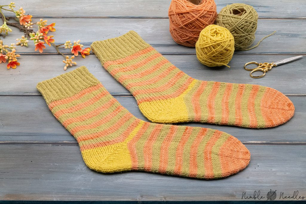 two plain vanila sock with a german short row heel (and stripes)