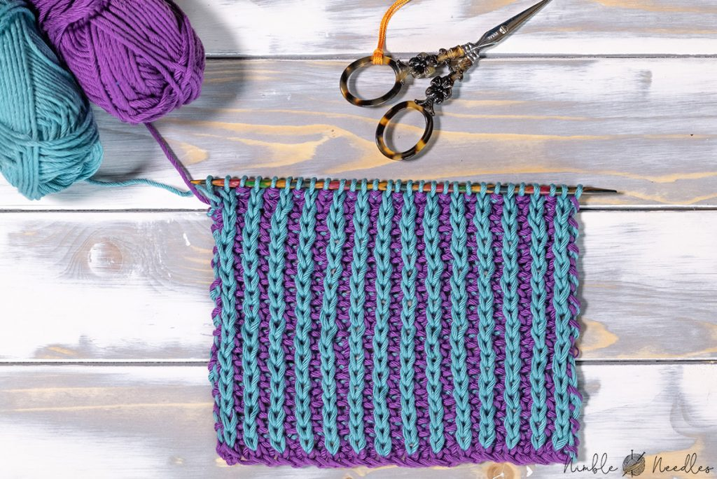 a swatch showing the right side of the the half brioche knitting stitch in two colors