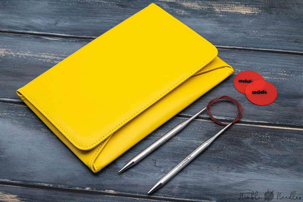 the pouch of the addi interchangeable knitting needle set (in yellow)
