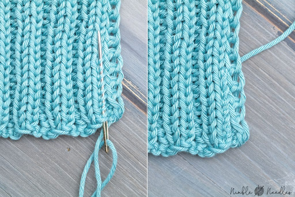 weaving in 2x2 rib stitch before and after