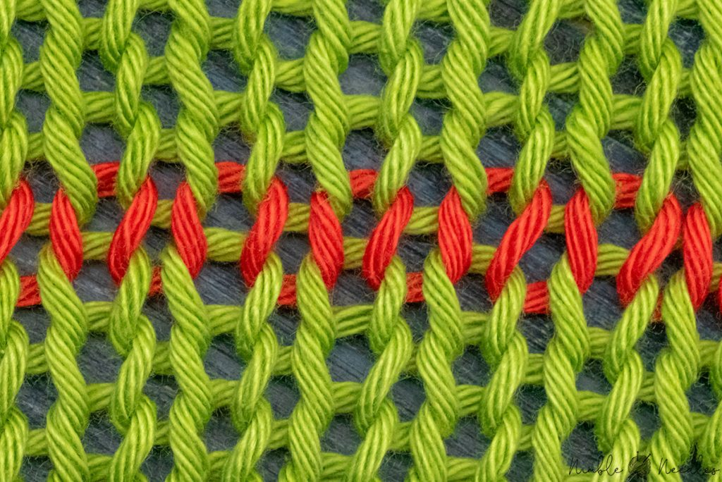 close-up of a row of knit stitches