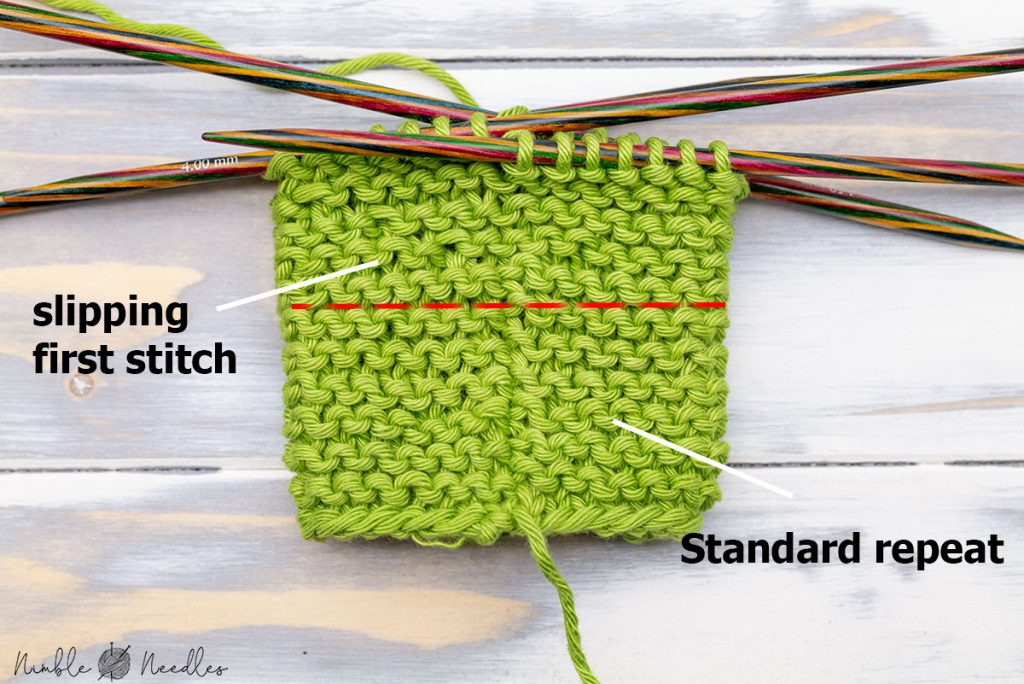 comparing a method to knit garter stitch in the round with a jogless option that is less visible