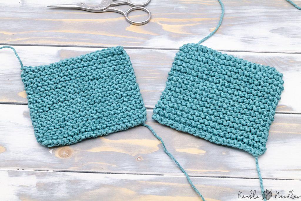 a swatch in garter stitch vs reverse garter stitch next to each other