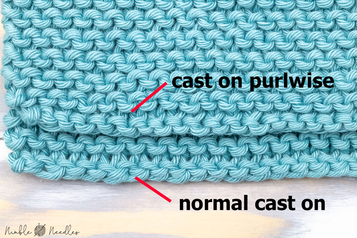 two different versions of an edge for reverse garter stitch