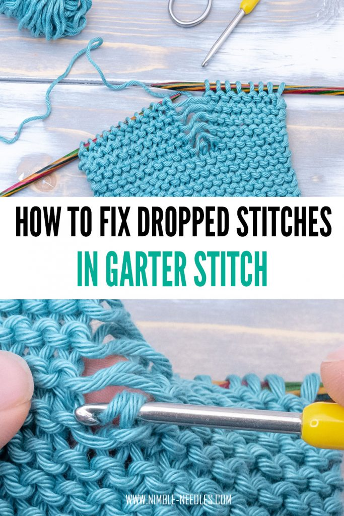 A step by step tutorial on how to do fix a dropped stitch in garter stitch using a crochet hook. Fix those holes and mistakes for beginners. This method is super easy and will be totally invisible once you are finished.