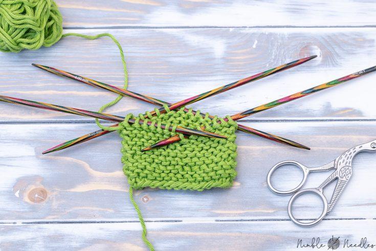 a swatch in garter stitch knit in the round