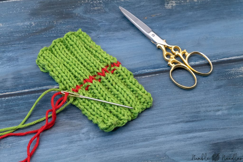 grafting ribbing with tapestry needle