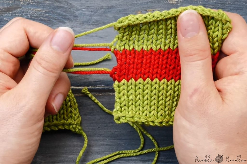 placing the ends at the edge of your knitting so you can hide it more easily