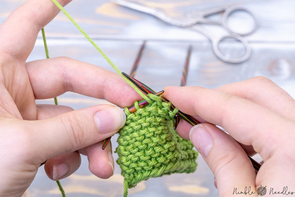 knitting garter stitch in the round