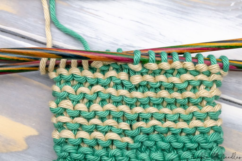 close-up of stripes in garter stitch in the round using the helix knitting method