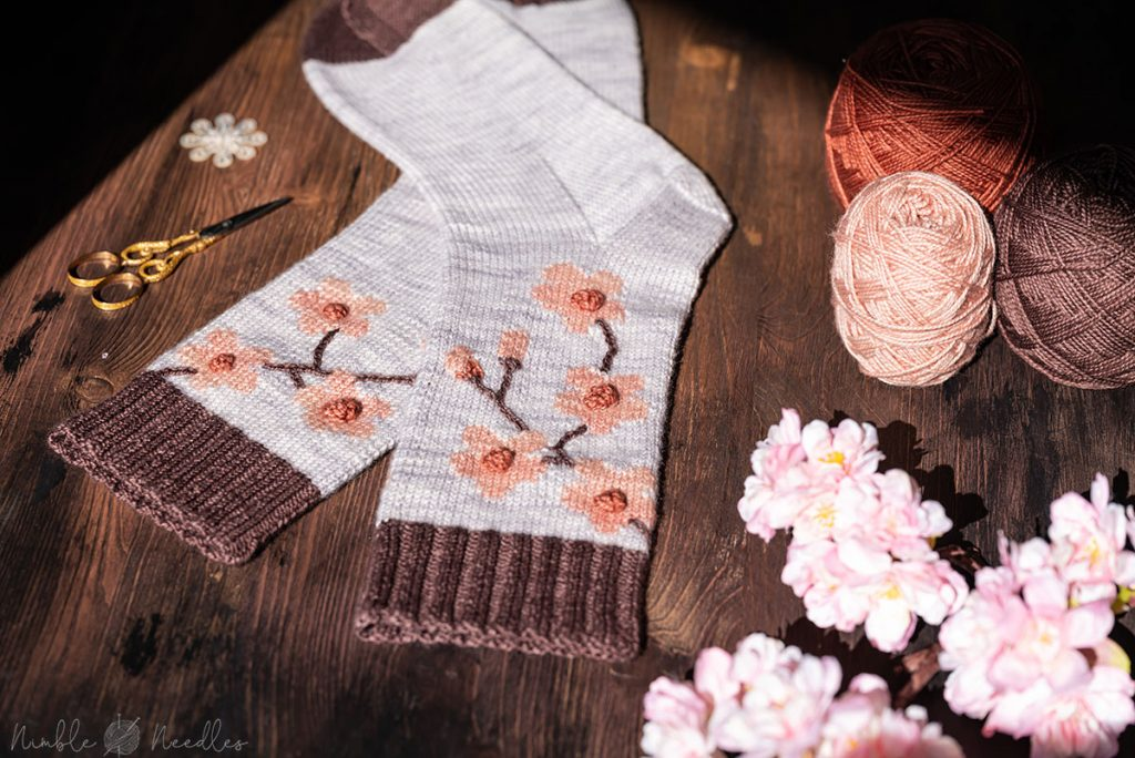 the finished cherry blossom sock knitting pattern seen close-up