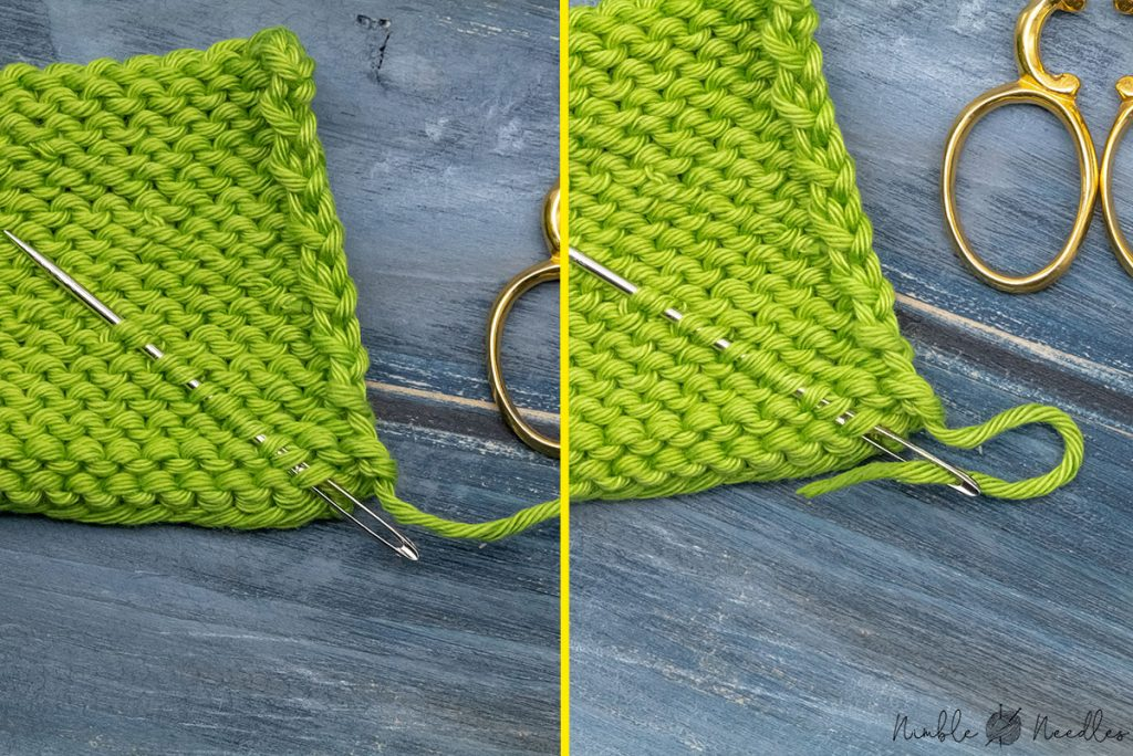 a technique for weaving in too short ends