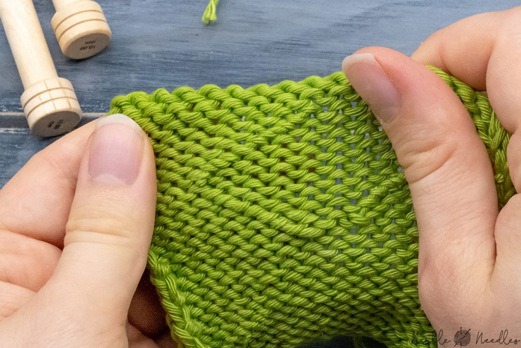 how the stockinette stitch swatch looks after weaving in the ends