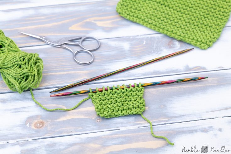 working on a little swatch in the garter stitch knitting pattern