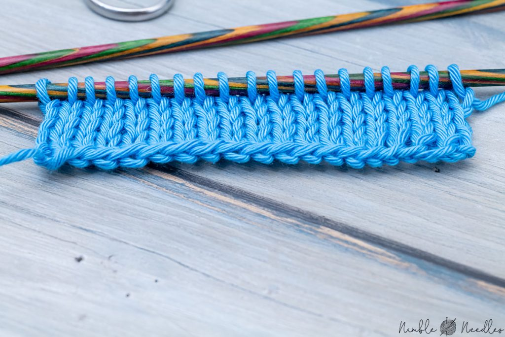 close up of the edge created by casting on stitches with two needles